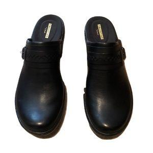 New Clark Black Leather Mules 7.5 M